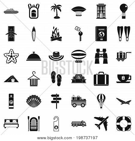 Walking in forest icons set. Simple style of 36 walking in forest vector icons for web isolated on white background