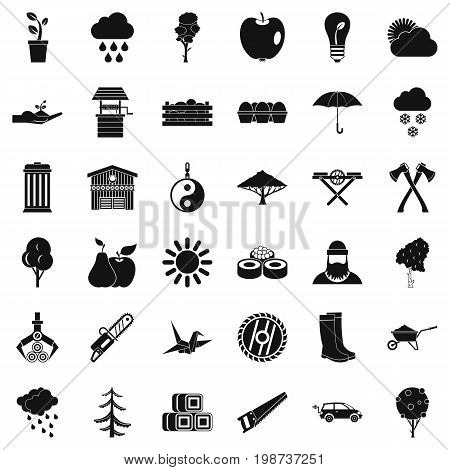 Autumn tree icons set. Simple style of 36 autumn tree vector icons for web isolated on white background