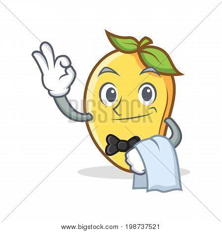 Waiter mango character cartoon mascot vector illustration