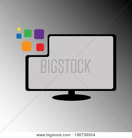 A vector of half-pixelate lcd monitor to describe modern technology