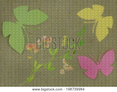 Illustration. Cross stitch. Butterflies and wild flowers on a green background. Scrapbook.