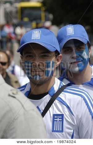 SALZBURG - JUNE 14: Greece football fans at the stadium before the football match Greece-Russia during the Euro2008 Group D. June 14, 2008, in Salzburg, Austria