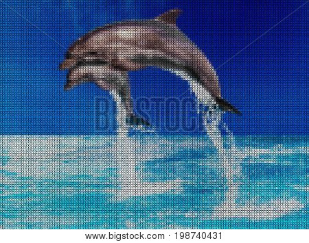 Illustration. Cross-stitch. Jump of two dolphins in the sea.