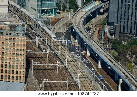 Aerial View Of Railway Tracks In Tokyo, Japan