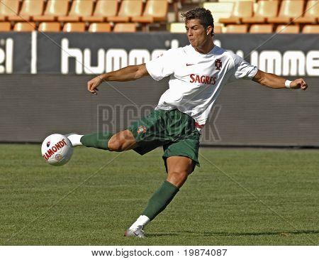 YEREVAN - AUGUST 21: Cristiano Ronaldo, during the training session at Republican Stadium in Armenia for UEFA EURO2008 Group 9 Qualifying match, Armenia-Portugal. August 21, 2007, in Yerevan, Armenia