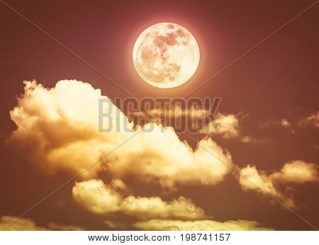 Night Sky With Bright Full Moon, Serenity Nature Background. Sepia Tone.