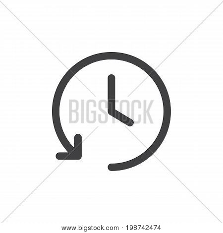 History line simple icon, outline vector sign, linear style pictogram isolated on white. Clock symbol with counterclockwise circular rotating arrow. logo illustration. Editable stroke. Pixel perfect