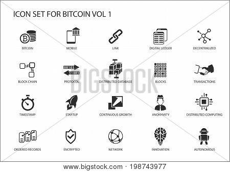 Bitcoin vector icons set with reusable symbols