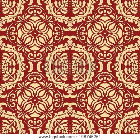 Oriental classic red and golden pattern. Seamless abstract background with repeating elements. Orient background