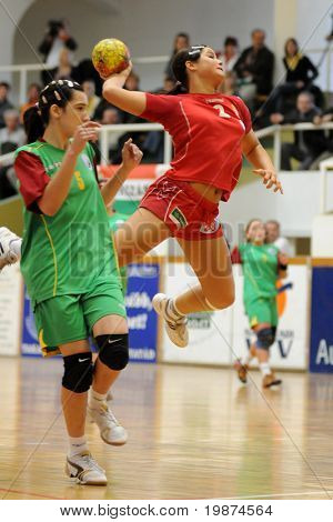 NAGYATAD, HUNGARY - MARCH 8: Orsolya Toth ready to score at Women's 17 European Handball Championship qualification match (Hungary vs. Portugal) March 8, 2009 in Nagyatad, Hungary.