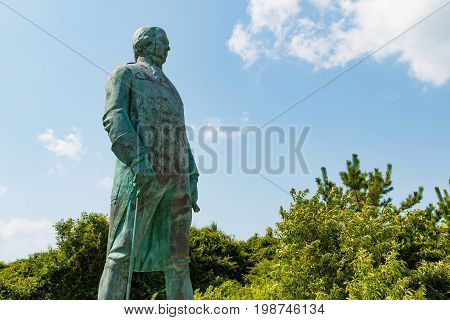 VIRGINIA BEACH, VIRGINIA - JULY 11, 2017:  Statue of Admiral Francois Joseph Paul de Grasse, a commander during the American Revolution in a battle leading to a victory over the British at Yorktown.