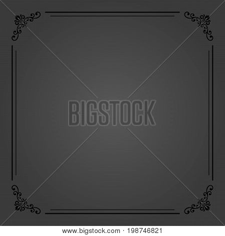 Classic dark square frame with arabesques and orient elements. Abstract ornament with place for text. Vintage pattern