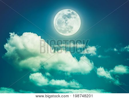 Attractive photo of background nighttime with cloudy. Landscape of night sky with beautiful full moon serenity nature background. Cross process. The moon taken with my own camera.