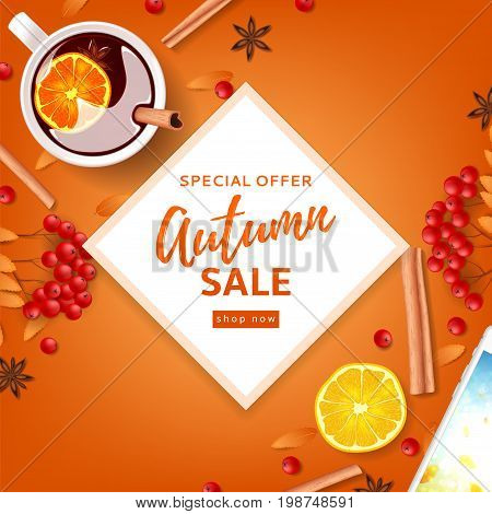 Orange background for autumn seasonal sale. Top view on composition with cup of mulled wine, rowan, cinnamon sticks on orange background. Vector illustration.