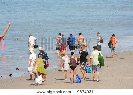 Tourist Activity On Tropical Krabi Island Beach