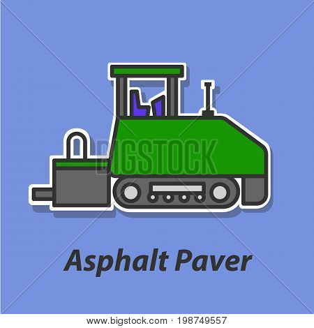 Asphalt Paver color flat icon. This is the vector icon for websites and electronic applications. This icon have a size of 48 by 48 pixels. Also you can edit the size of the icon in the graphical editor.