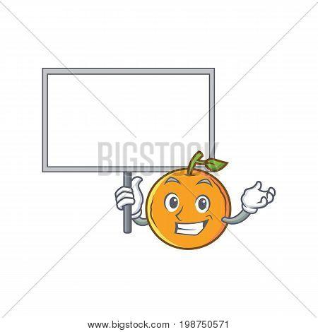 Bring board orange fruit cartoon character vector illustration