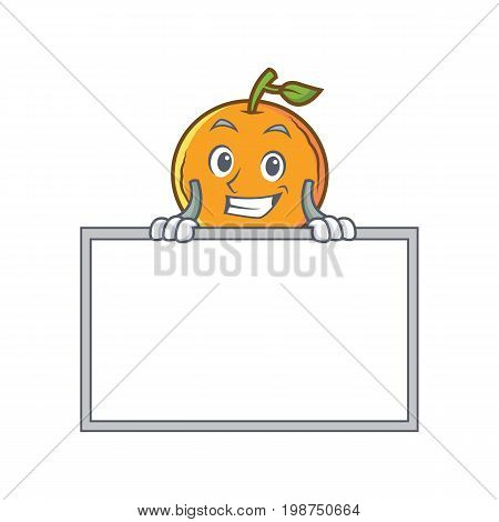 Grinning orange fruit cartoon character with board vector art