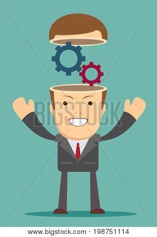 Open minded man with cogwheel inside. Conceptual image .Stock vector illustration for poster, greeting card, website, ad, business presentation, advertisement design