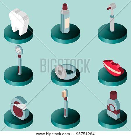 Stomatology flat isometric set. Dental care. Vector illustration, EPS 10