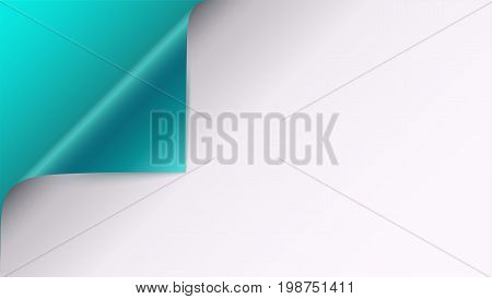 Page curl with shadow on blank sheet of paper. Vector curled corner of white paper with shadow. Close-up on turquoise background. Paper sticker, 3D illustration
