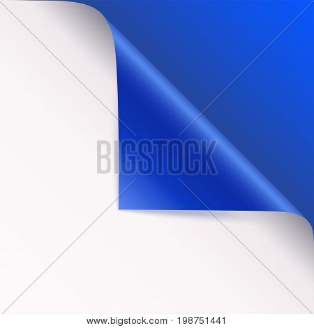 Page curl with shadow on blank sheet of paper. Vector curled corner of white paper with shadow. Close-up isolated on blue background. Paper sticker, 3D illustration
