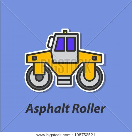 Asphalt roller color flat icon. This is the vector icon for websites and electronic applications. This icon have a size of 48 by 48 pixels. Also you can edit the size of the icon in the graphical editor.