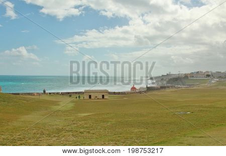 Along the coastline of Old San Juan Puerto Rico with parts of El Morro fort