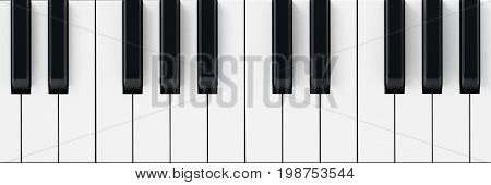 White and black piano keys background. 3D illustration.