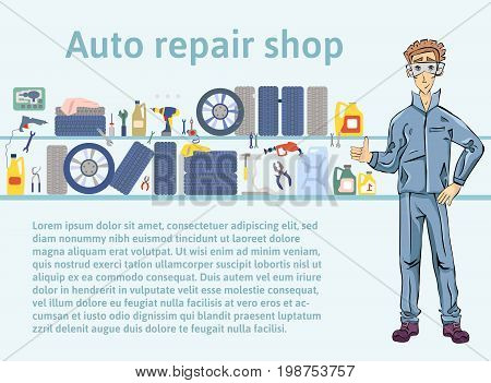 Auto repair shop. Mechanic man holding a wrench. Vector illustration with copy space, template for advertising flyer brochure or web site.