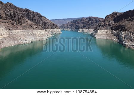 Lake Mead on Colorado River at the Stateline of Nevada-Arizona. USA