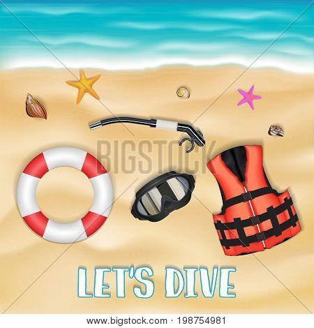 scuba diving mask safety vest safety torus on beach