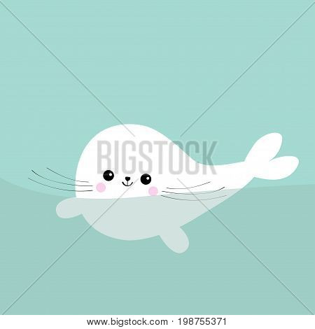 Swimming floating harp baby seal pup. Cute cartoon character. Happy baby animal collection. Sea ocean water. Blue background. Flat design Vector illustration