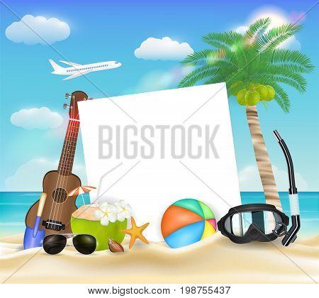 paper ball glasses diving mask ukulele on beach