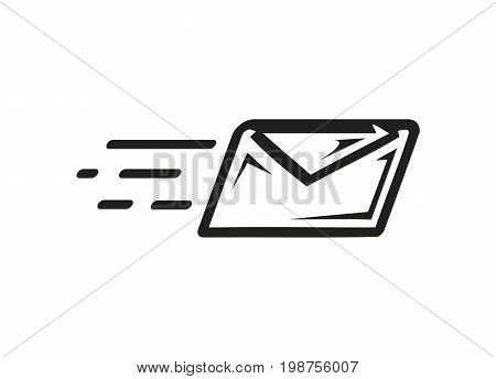 email envelope with motion lines, sending an email, icon design, isolated on white background.