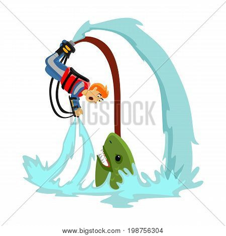 Fly board water extreme sports, isolated design element for summer vacation activity concept, cartoon wave surfing, sea beach vector illustration, active lifestyle adventure.