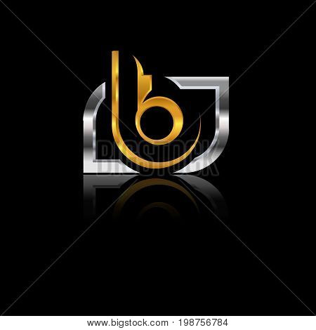 vector graphic gold silver B letter symbol with sample text for your company,eps8,eps10