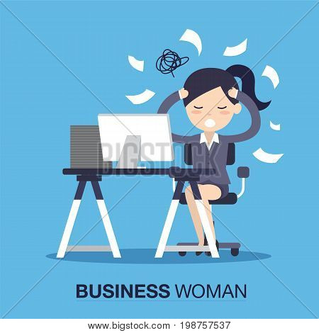 Busy of time business woman in hard working. A lot of work. Stress at work. vector