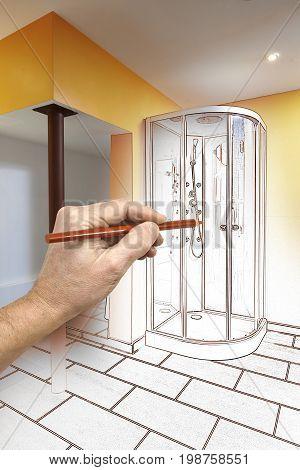 Drawing Renovation Of A Modern Bathroom