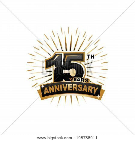 fifteen years anniversary, gold badge, illustration design, isolated on white background.