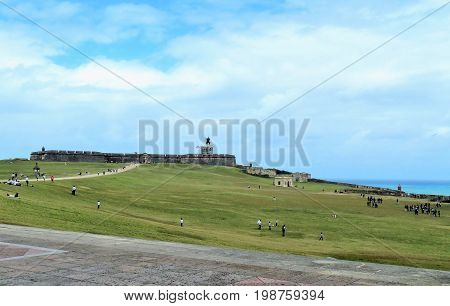San Felipe del Morro fort in San Juan Puerto Rico- March 9 2017-School children visiting the historic San Felipe del Morro fort