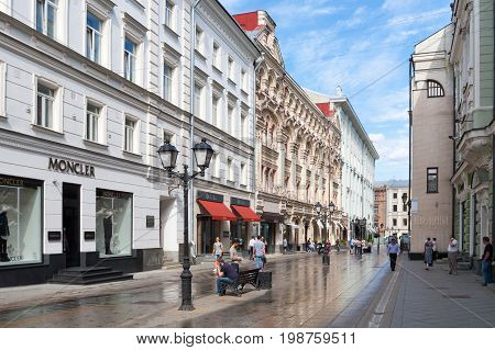 MOSCOW - AUGUST 7: View on Stoleshnikov Lane towards Petrovka Street on August 7 2017 in Moscow. Stoleshnikov lane is pedestrian street in center of Moscow.