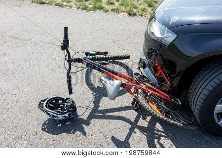 Close Up of a children's bicycle accident on the street