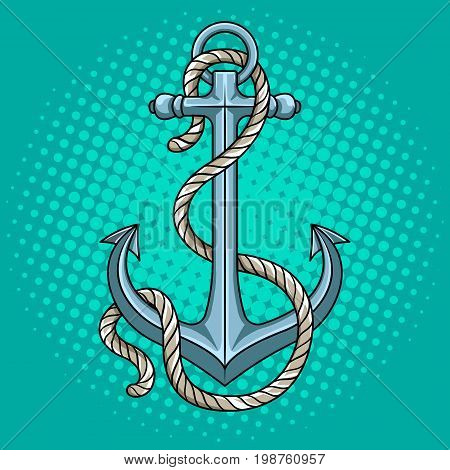 Anchor with rope pop art style vector illustration. Comic book style imitation