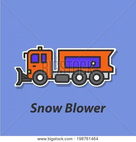 Snow blower color flat icon. This is the vector icon for websites and electronic applications. This icon have a size of 48 by 48 pixels. Also you can edit the size of the icon in the graphical editor.