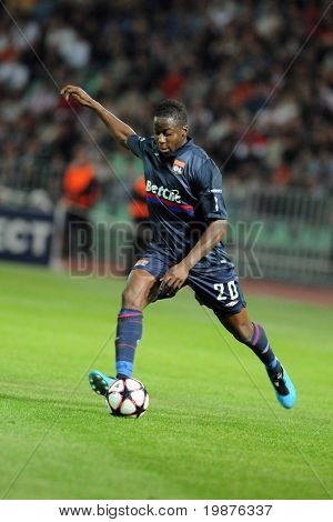 BUDAPEST - SEPTEMBER 29: Aly Cissokho in action at the UEFA Champions League football game Debrecen vs Lyon, UEFA Champions League football game, September 29, 2009 in Budapest, Hungary.