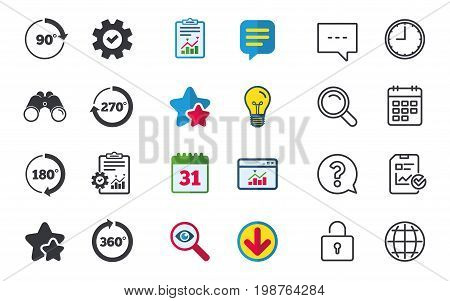 Angle 45-360 degrees circle icons. Geometry math signs symbols. Full complete rotation arrow. Chat, Report and Calendar signs. Stars, Statistics and Download icons. Question, Clock and Globe. Vector