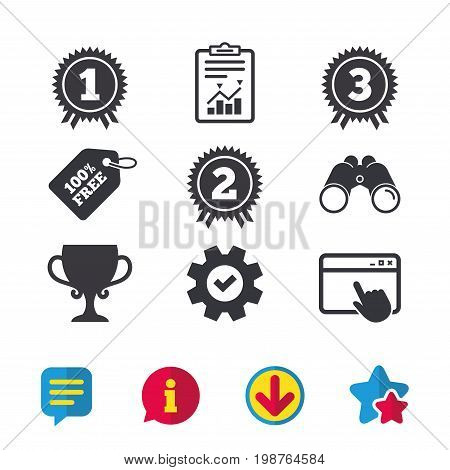 First, second and third place icons. Award medals sign symbols. Prize cup for winner. Browser window, Report and Service signs. Binoculars, Information and Download icons. Stars and Chat. Vector