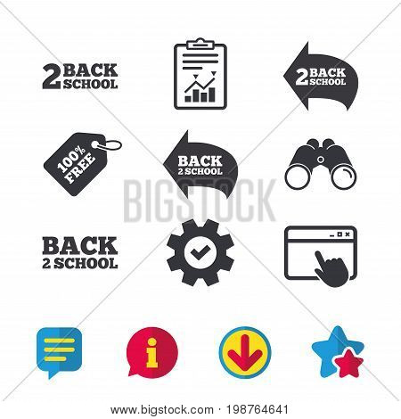Back to school icons. Studies after the holidays signs symbols. Browser window, Report and Service signs. Binoculars, Information and Download icons. Stars and Chat. Vector