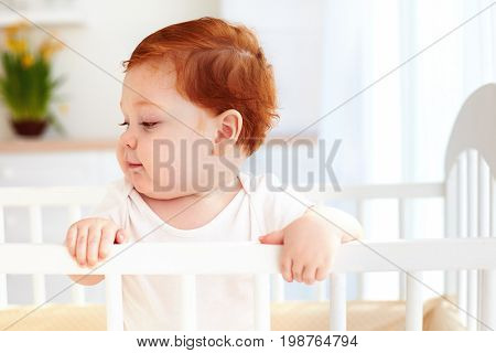 Poprtait Of Cute Happy Infant Baby Standing In A Cot At Home
